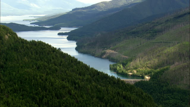 Hungry Horse Dam  - Aerial View - Montana, Flathead County, United States