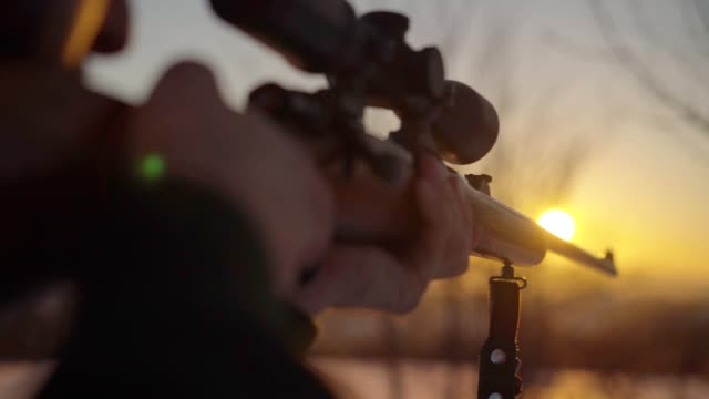 hunter in den hinterhalt - gewehr stock-videos und b-roll-filmmaterial
