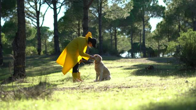 stockvideo's en b-roll-footage met hunter man wandelen met zijn hond en pistool in bos - vogeljacht