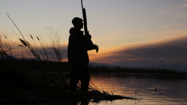 hunter turning and walking away from the pond - gewehr stock-videos und b-roll-filmmaterial