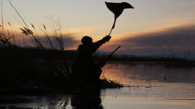 vídeos de stock, filmes e b-roll de hunter using duck decoy and then shooting - ajoelhando se