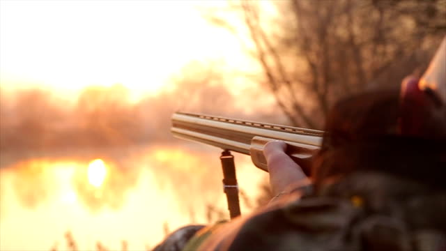 hunter with shotgun looking for prey,close up - rifle stock videos & royalty-free footage