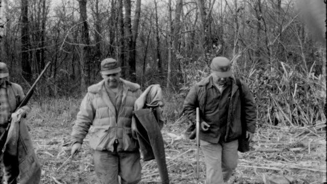 hunters shooting pheasants and ducks in the rural woods of tennessee / hunters collect birds in the field after the hunt and are bagged in burlap... - 鳥を狩る点の映像素材/bロール