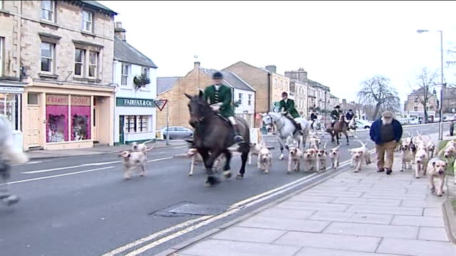 vídeos de stock e filmes b-roll de boxing day hunts take place england oxfordshire chipping norton ext members of the hunt along on horses with hounds alongside hunt supporters in... - chipping norton england
