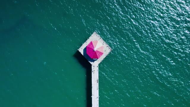 huntington beach pier aerial towards the ocean - huntington beach california stock videos and b-roll footage