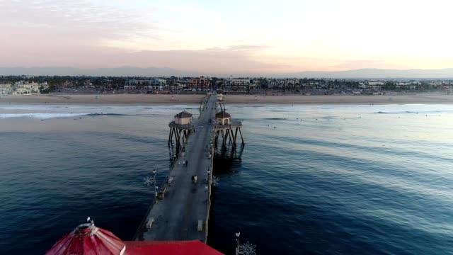 huntington beach pier - huntington beach california stock videos and b-roll footage