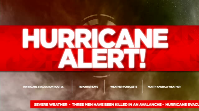 hurricane alert broadcast tv graphics title - alertness stock videos & royalty-free footage