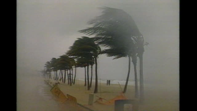 Hurricane Andrew plows through the streets of Miami in Miami Florida