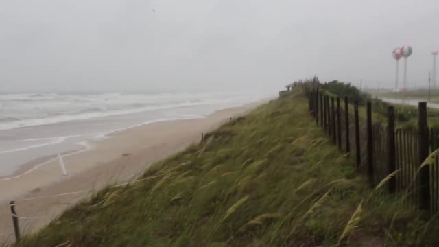hurricane arthur's initial impacts at onslow beach aboard marine corps base camp lejeune north carolina thursday afternoon july 3 - carolina beach stock videos and b-roll footage