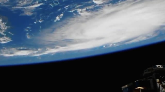 hurricane dorian is seen from the international space station while still being a category 2 storm in saffirsimpson hurricane wind scale it is... - planet earth stock videos & royalty-free footage