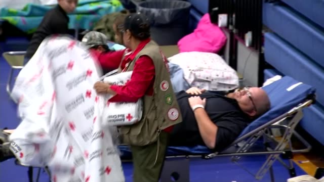 serious flooding hits texas; usa: texas: austin: int pull focus people in hall of makeshift shelter centre people wearing 'american red cross'... - red cross stock videos & royalty-free footage