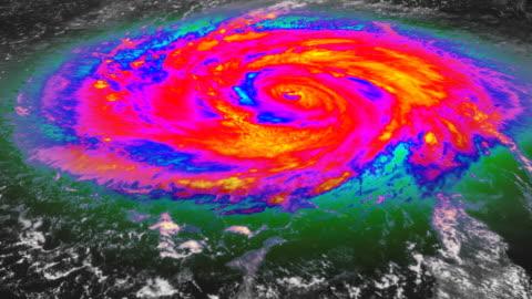 vídeos y material grabado en eventos de stock de huracán infrarrojos vista de satélite - tormenta tiempo atmosférico