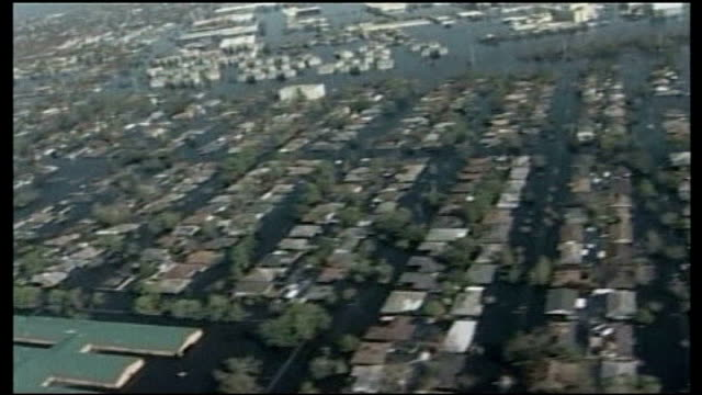 spike lee documentary 'when the levees broke' august / september 2005 usa louisiana new orleans flooded residential area air view flood damage air... - hurricane katrina stock videos and b-roll footage