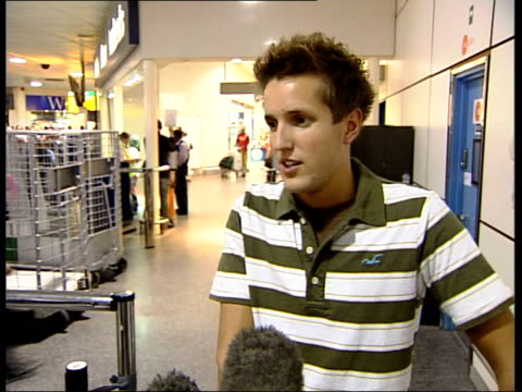 first britons return home england london gatwick airport will nelson interview sot constantly on guard scared don't know what's coming next sticking... - hurricane katrina stock videos and b-roll footage