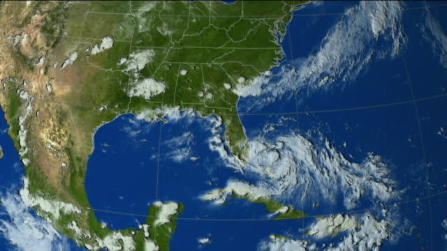 vídeos de stock, filmes e b-roll de t/l ws hurricane katrina from weather satellite data, usa - meteorologia
