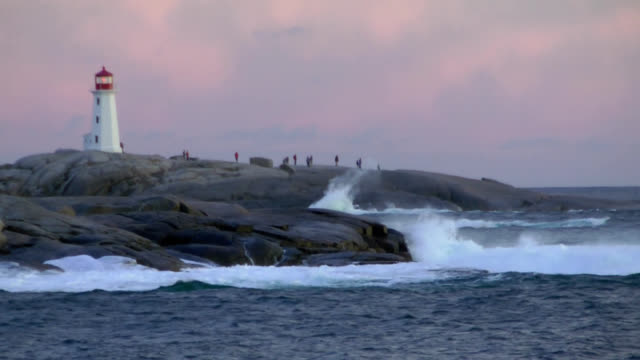 hurricane surf near peggys cove lighthouse - lighthouse stock videos & royalty-free footage