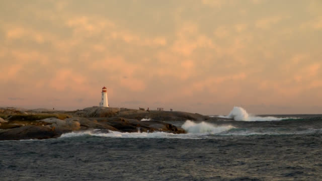 hurricane surf near peggys cove lighthouse - nova scotia stock videos & royalty-free footage