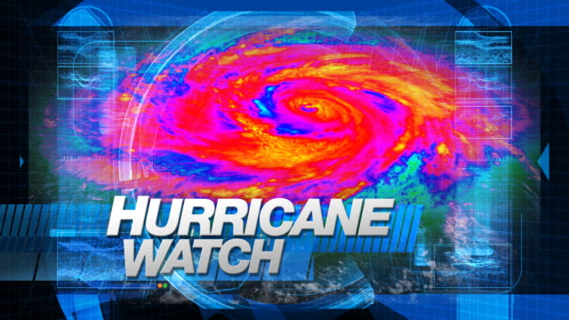 hurricane watch - broadcast graphics (infrared) - meteorology stock videos & royalty-free footage