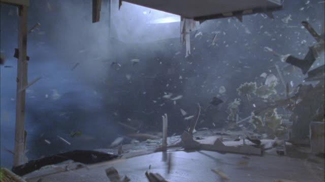 hurricane winds demolish a home. - hurricane stock videos & royalty-free footage