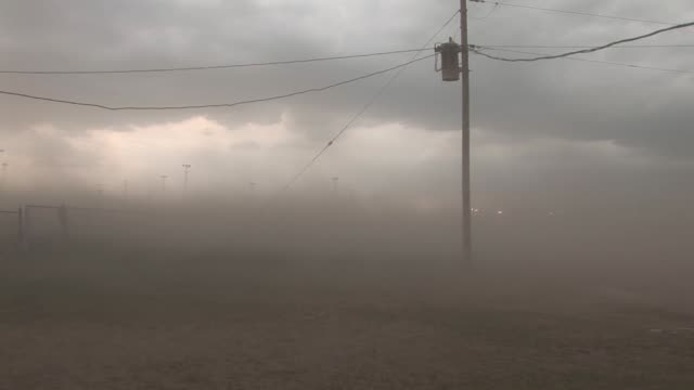 Hurricaneforce winds blow dirt and debris through the air Available in HD