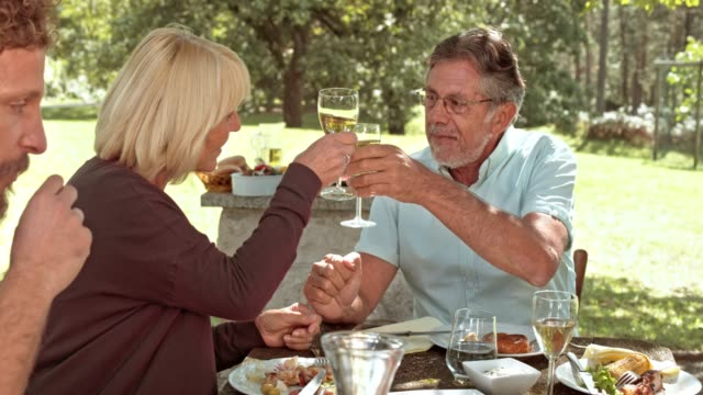 Husband and wife clinking glasses at family picnic table