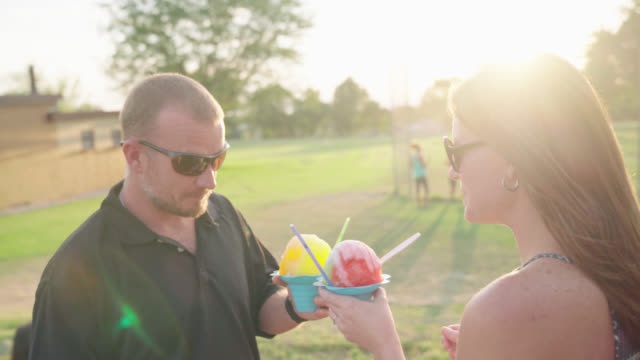 Husband and Wife Enjoy Shave Ice