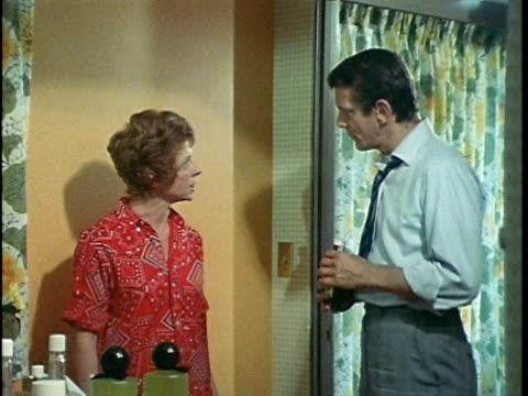 1971 montage husband and wife fighting over accusations of alcoholism, los angeles, california, usa, audio  - 1971 stock-videos und b-roll-filmmaterial