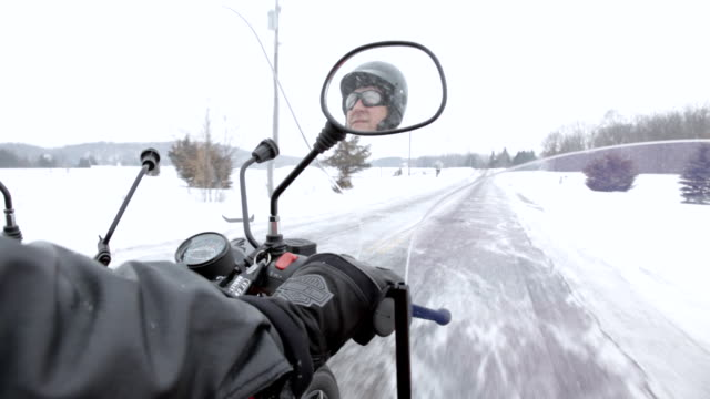 cu ts husband and wife ridding on motorcycle with sidecar in rural area during winter / osceola, wisconsin, united states - sidecar stock videos & royalty-free footage