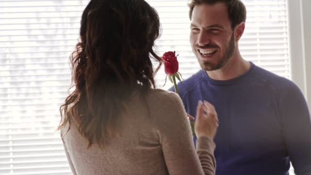 husband gives a single red rose to his loving wife and they share a moment of affection - single rose stock videos & royalty-free footage