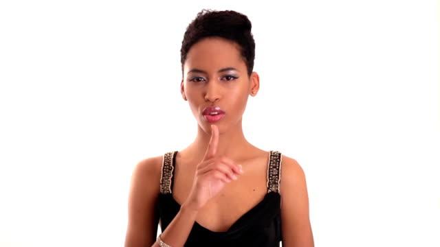 vídeos y material grabado en eventos de stock de hush - dedo sobre labios