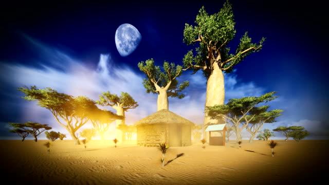 Hut tussen baobabs
