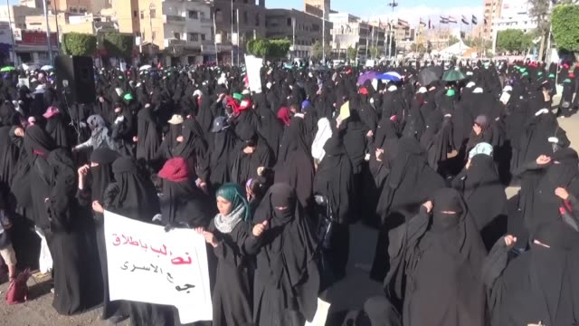 huthi female demonstrators take the streets of sanaa to express their will to take part in the war ravaging yemen since four years - middle east stock videos & royalty-free footage