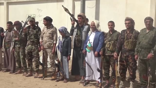 huthi rebel fighters hold a sit in to mark four years of war in yemen - yemen stock videos & royalty-free footage