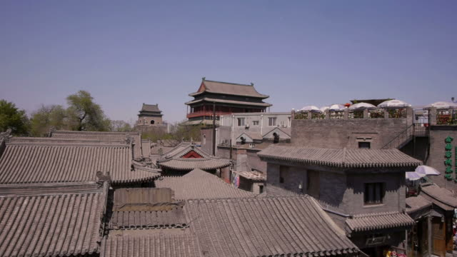 vídeos y material grabado en eventos de stock de w/s, hutong, drum tower, bell tower, rooftops, trees, beijing, china - hutong