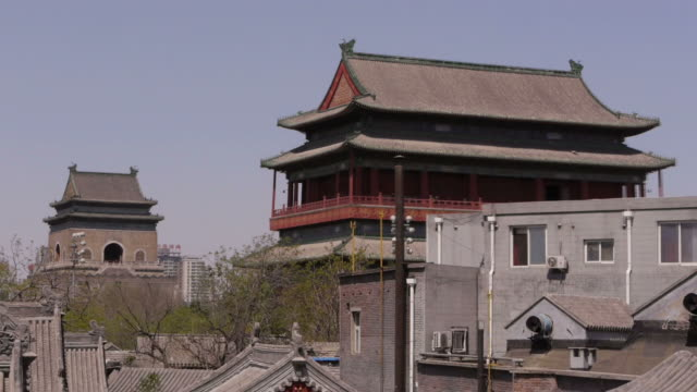 Hutong, Drum Tower, Bell Tower, rooftops, trees, zoom, Beijing, China