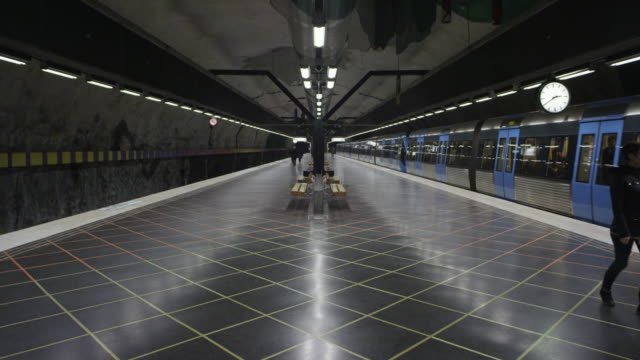 huvudsta subway station in stockholm, metro station - distant stock videos & royalty-free footage