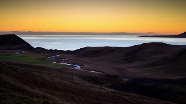 hvalfjörður, iceland - day to night time lapse - rolling landscape stock videos & royalty-free footage