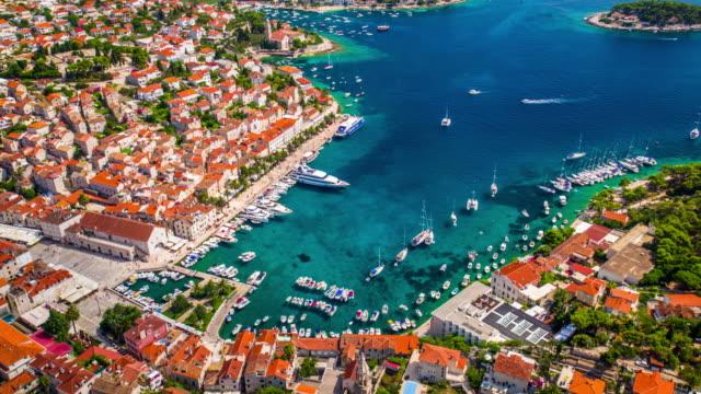 AERIAL: Hvar Town at the Adriatic sea of Croatia