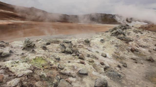 Hverarond Geothermal Area Iceland hissing steam vents mud pot Mount Namaskard visitors