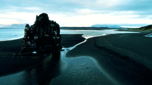 hvitserkur - iconic sea stack on volcanic black beach. bird flying in front of drone - stack rock stock videos and b-roll footage