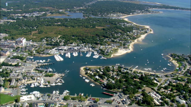 hyannis port - aerial view - massachusetts,  barnstable county,  united states - massachusetts stock videos & royalty-free footage