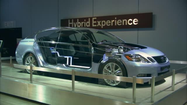 ms, hybrid car on display in los angeles auto show, california, usa - industria dell'automobile video stock e b–roll