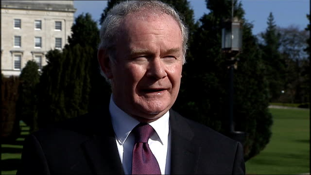 martin mcguiness interview northern ireland belfast stormont ext martin mcguinness mla interview sot mcguinness along on road with others / stormont... - stormont stock videos and b-roll footage