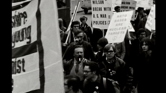 b/w various of young people at legalise cannabis gathering s31070702 2431968 london b/w huge crowd of antivietnam war protesters marching along... - marching stock videos and b-roll footage