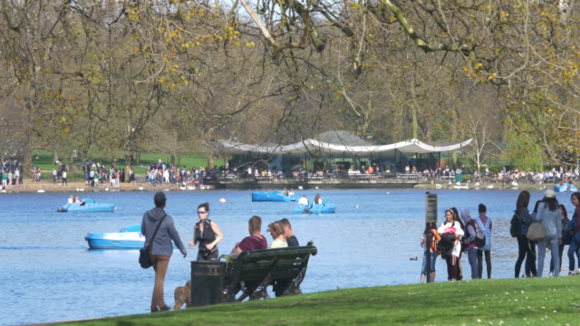hyde park cafe and serpentine lake. - hyde park london stock videos & royalty-free footage