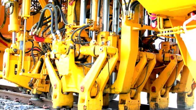 hydraulic machines work. - railroad track stock videos & royalty-free footage
