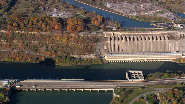 hydroelectric plants in us and canada  - aerial view - new york,  niagara county,  united states - niagara falls stock videos and b-roll footage