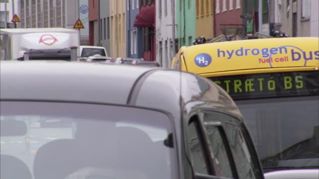 CU H2 Hydrogen bus in downtown traffic / Reykjavik, Reykjanes Peninsula, Iceland