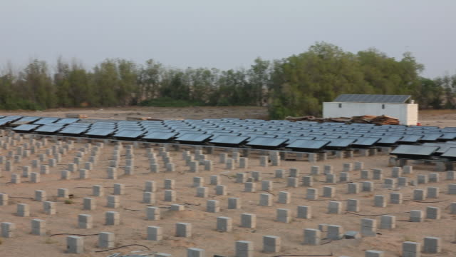 hydropanels produced by zero mass stand at the planned site of ibv's drinking water plant in lahbab, dubai, united arab emirates, on wednesday, july... - water plant stock videos & royalty-free footage