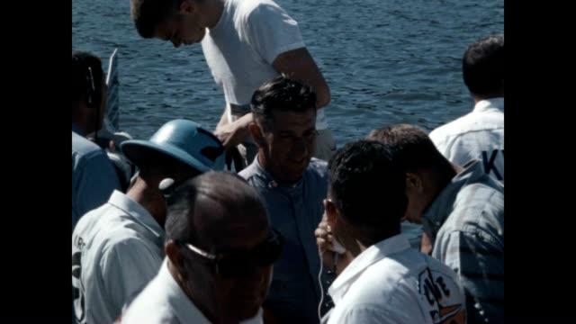 vídeos y material grabado en eventos de stock de hydroplane racer marion cooper is interviewed - hidroplano